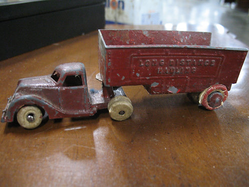 Vintage Hubley USA Wood Wheel Truck and Trailer Set