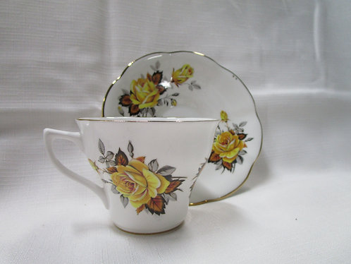 Lefton Bone China Teacup and Saucer with Yellow Roses