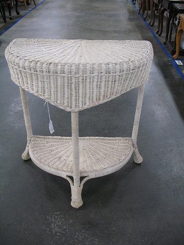 Vintage Half Moon White Wicker Table