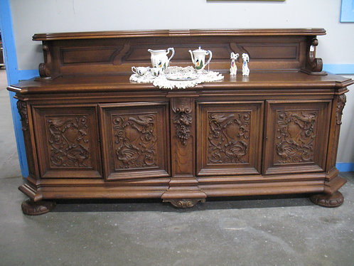 Antique Carved Oak Sideboard with Display Top Shelf