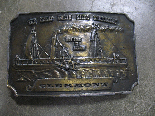 Vintage Clermont The Great North River Steamboat Belt Buckle