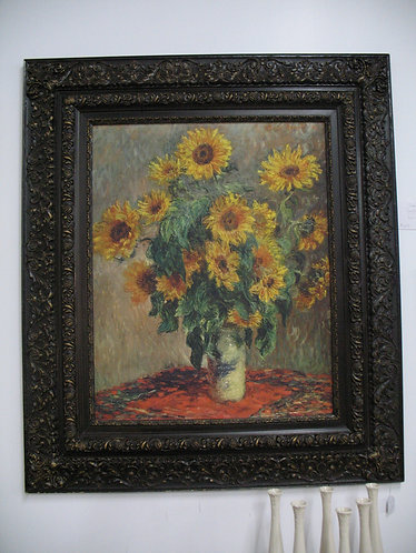 "Vintage Framed Monet ""Sunflowers"" Print"