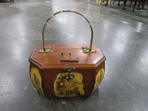 Vintage Hollie Hobbie Train Box Purse with L Wood Monogram