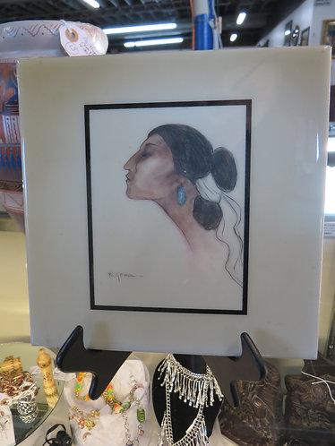 "Navajo Art Tile ""Turquoise Earring"" by R.C. Gorman"