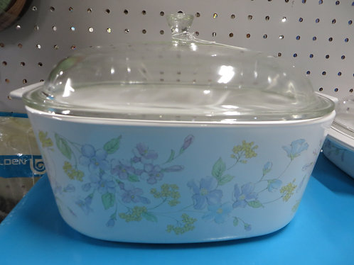 Vintage Corning Ware Pastel Banquet 3 Quart Dish with Glass Lid