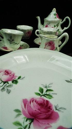 Pink Rose Crown Victorian Tea Set, Miniature/Doll/Child: miniature tea set, bone