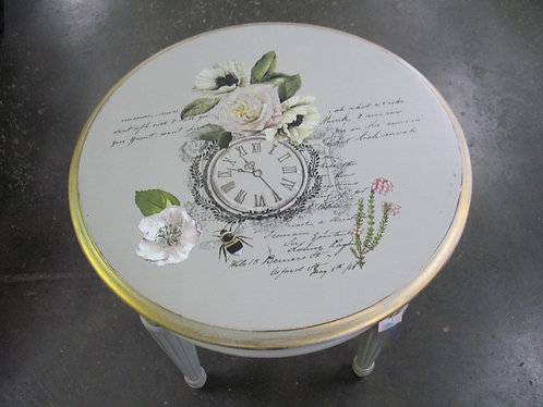Custom Painted Round Side End Table with Clock/Floral Transfer Top
