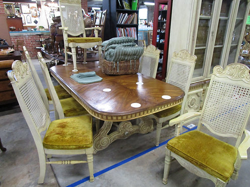 Vintage Jessup Furniture French Provincial Dining Table with Leaf and Eight Cane