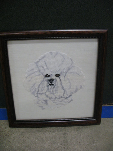 Handmade Cross Stitched Bichon Frise Framed Wall Art