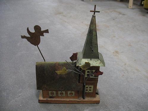 Vintage Handmade Wood Church Steeple Music Box