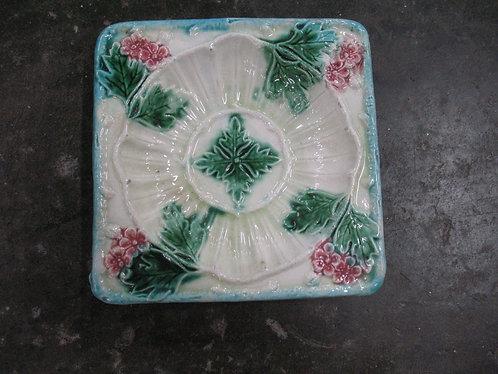 Vintage Majolica Floral Trinket Dish