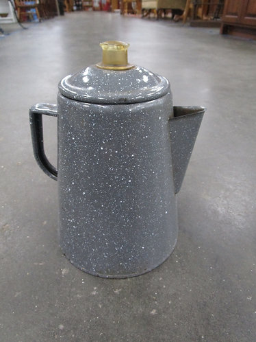 Vintage Grey & White Speckle Enamel Coffee Tea Percolator