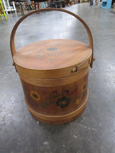 Vintage Hand Painted Floral Firkin Sugar Bucket with Lid