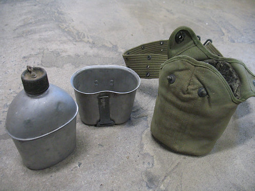 1944 WWII US Military Canteen, Cup & Belt