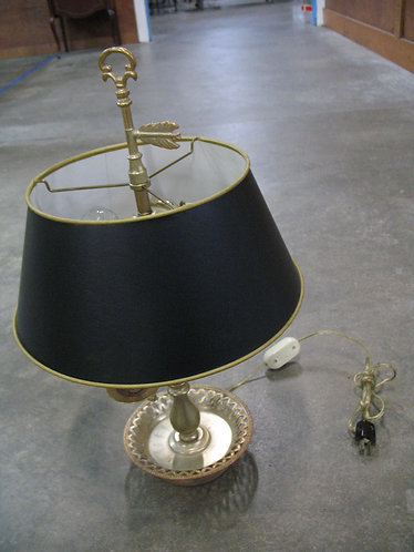 Vintage French Style Frosted Brass Electric Lamp