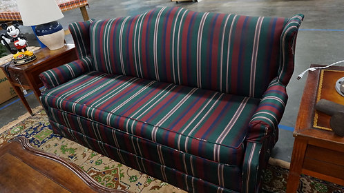 Vintage Green and Burgundy Striped Sofa