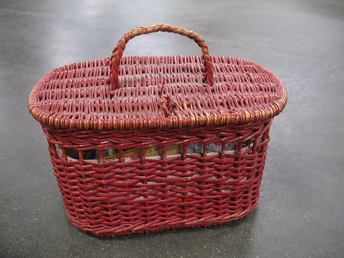 Vintage Red Wicker Sewing Basket with Accessories