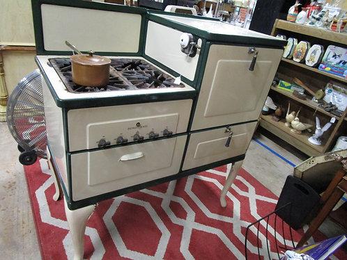 Vintage Cream/Green Enamel Detroit-Michigan Jewel 6126C Cook Stove Range