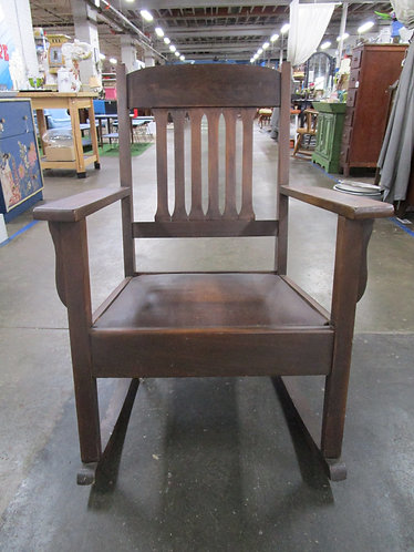 Vintage Stickley Style Mission Craftsman Wood Upholstered Seat Rocking Chair