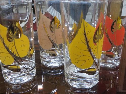 Vintage Autumn Leaves Gold Leaf Glassware, Set of 8