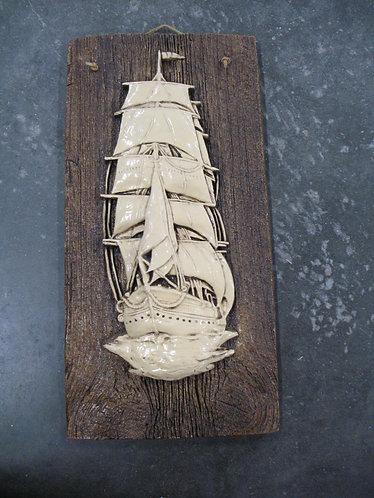 Vintage Orzeck Terrastone Sailing Ship Wall Plaque