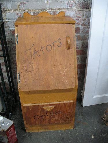 Vintage Rustic Tators & Onions Cabinet