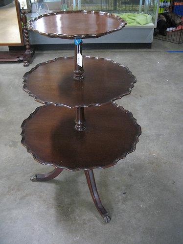 Antique Ferguson Bros. Mahogany 3 Tiered Pie Crust Table