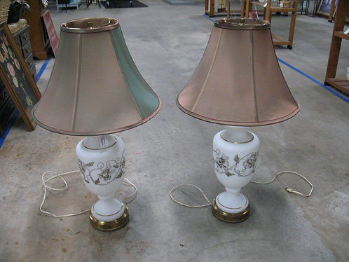 Vintage White/Gold Glass Lamps with Shades Pair