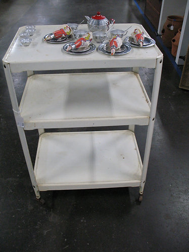Vintage Three Tier Cream Metal Cart with Casters