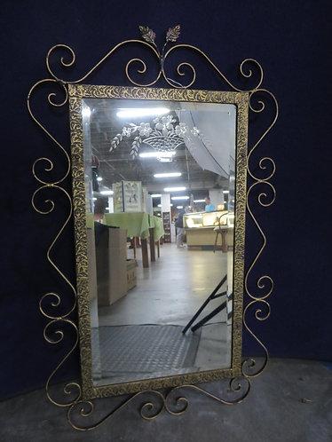 Vintage Metal Frame Beveled Etched Mirror
