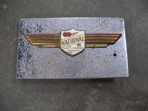 Vintage National Shuffleboard Company Orange, NJ Nameplate