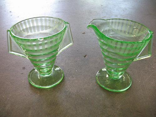 Vintage Art Deco Vaseline Glass Sugar and Creamer Set