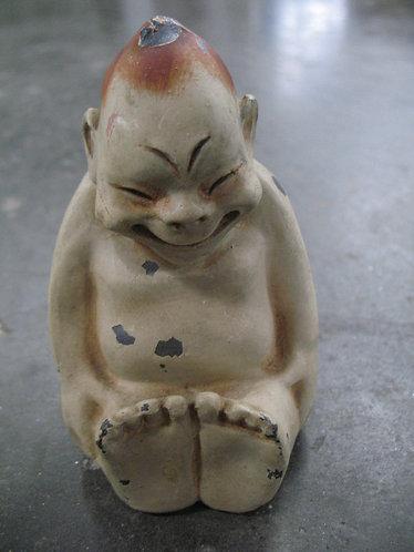 Vintage Happy Buddha Cast Iron Coin Bank