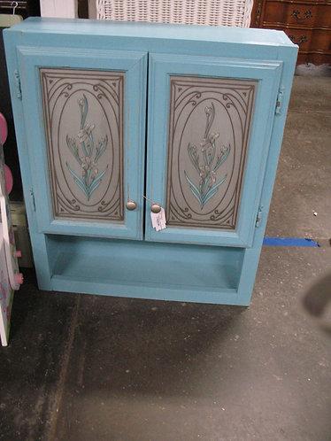 Aqua Floral Door Bathroom Medicine Supply Cabinet