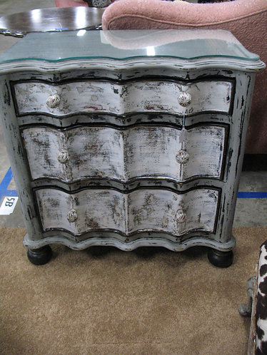 Custom Painted & Distressed Three Drawer Chest with Glass Top