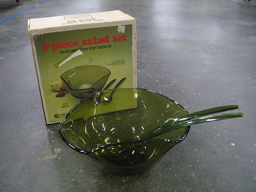 Vintage Indiana Glass Olive Glass Salad Bowl with Original Box