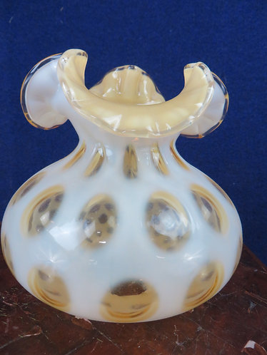 "Fenton (Unsigned) Amber Coin Dot Ruffled Lamp Shade, 7"" tall x 7"" diameter"