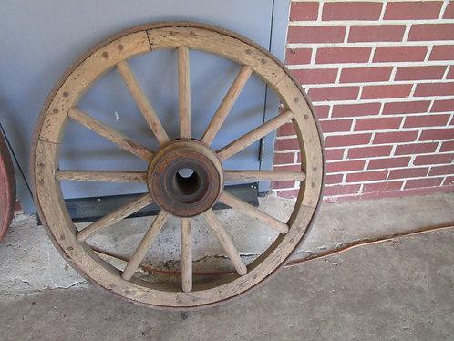 "Antique Wood and Metal 36"" Diameter 12 Spoke Wagon Carriage Wheel"