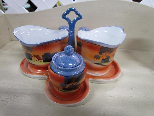 Vintage Chikamarachi Japan Hand Painted Six Piece Condiment Table Set