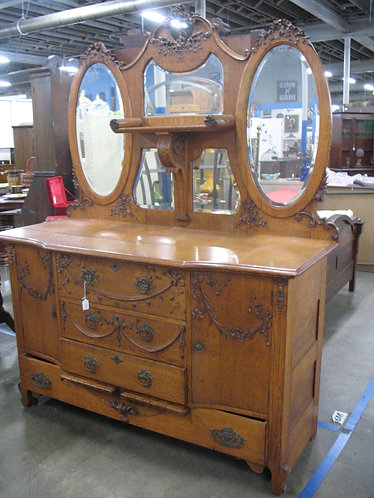 Antique Tiger Oak French Five Mirror Server Sideboard