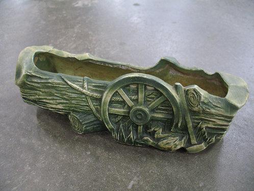 Vintage McCoy USA Wagon Wheel Log Planter