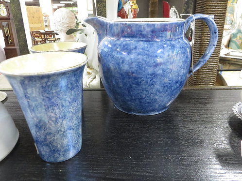 Vintage Byzanta Ware Stoke on Trent, England, Pitcher and Two Tumblers