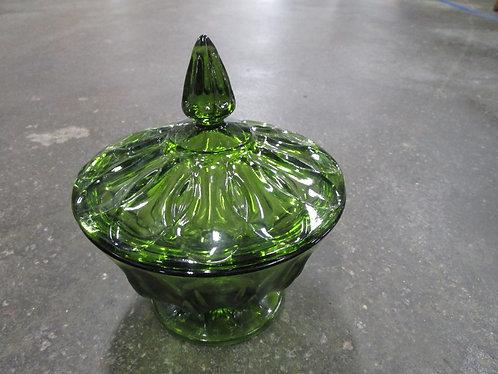 Vintage Green Glass Pedestal Lidded Candy Trinket Dish