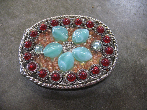 Floral Bejeweled Woman's Belt Buckle