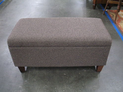 Modern Brown/Black Fabric Upholstered Hinged Top Storage Ottoman