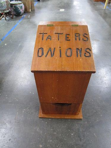 Vintage Solid Wood Taters & Onion Kitchen Storage Bin