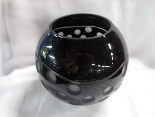 Vintage Black and Frosted Glass Optic Art Glass Round Vase