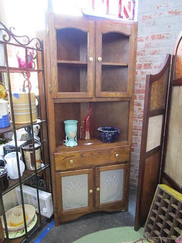 Vintage Oak and Punched Tin Corner Cabinet