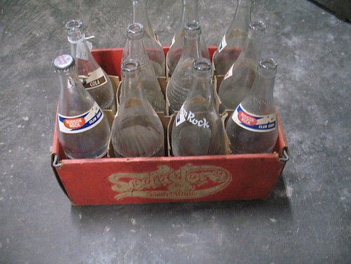 Vintage Hudson Rock Soda Bottles (11) in Carry Case