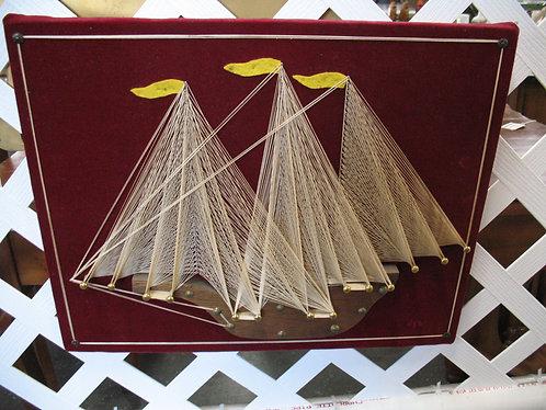 Vintage Sailboat Three Mast String Wall Art Decor
